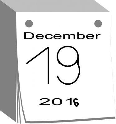 Illustration d'un calendrier en date du 19 décembre